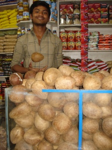 Mature coconut meat is sold in the market whole, with the shell removed. I buy my coconut with the shell, as the meat is fresher than that above.